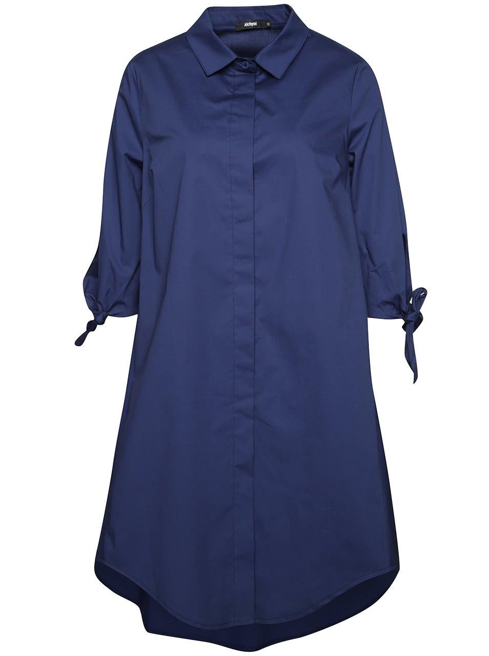 Tmavě modré volné košilové šaty Alchymi Atiqa