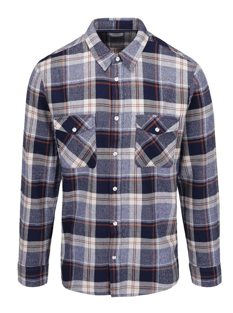 Modrá flanelová kostkovaná košile Burton Menswear London