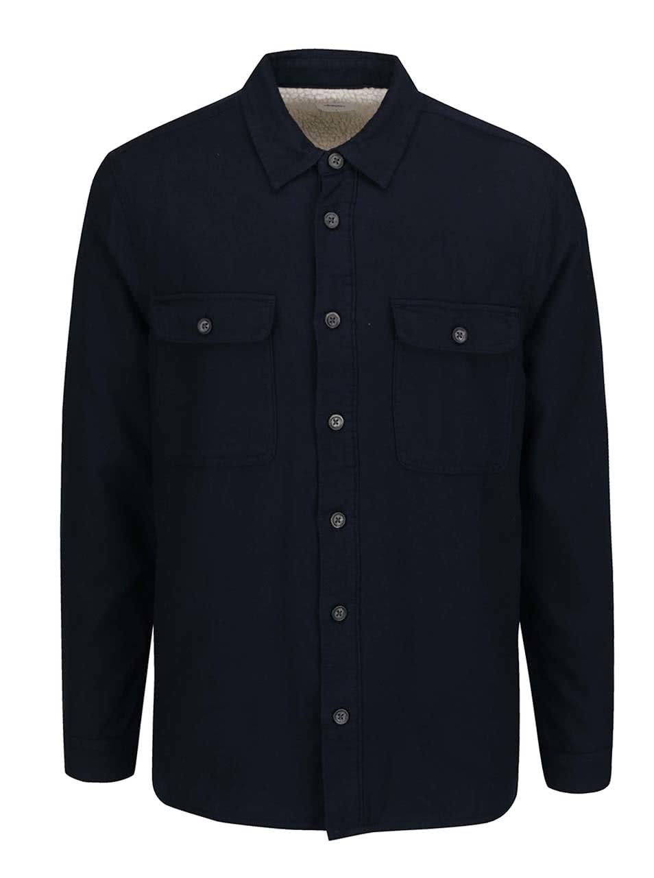 Modrá tenká flanelová bunda Burton Menswear London