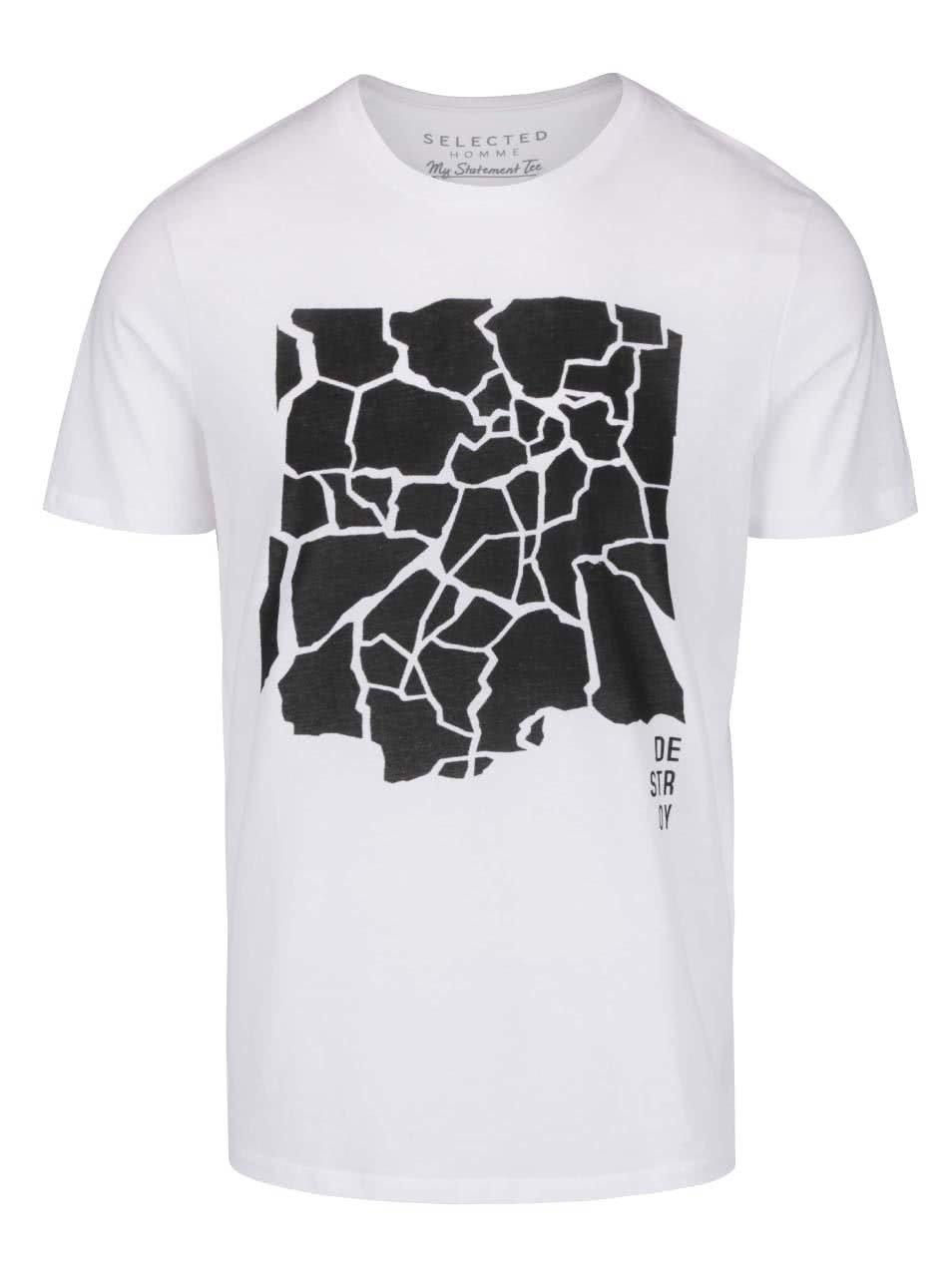 Bílé triko s potiskem Selected Homme Compact