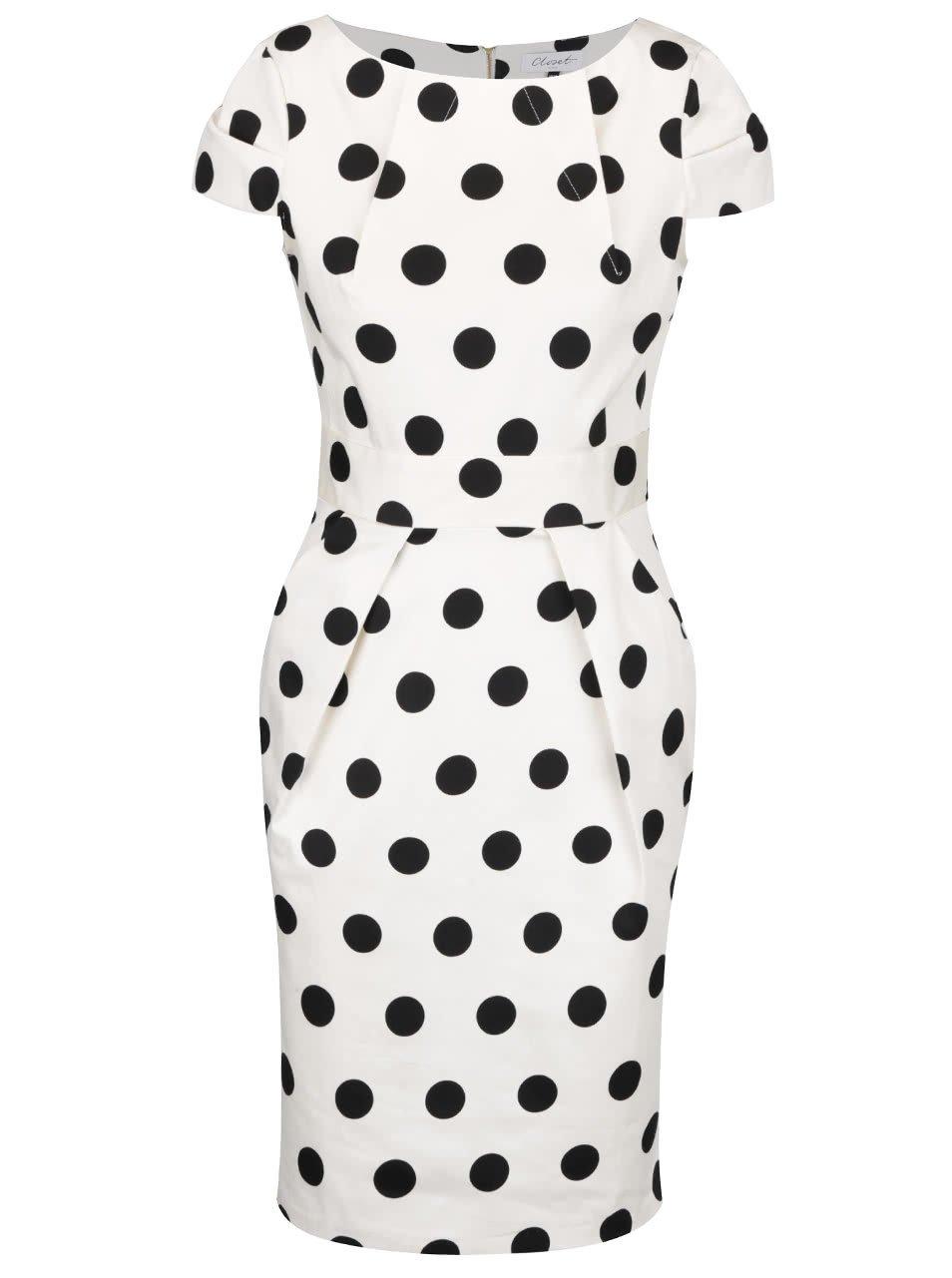 Černo-krémové puntíkované šaty Closet