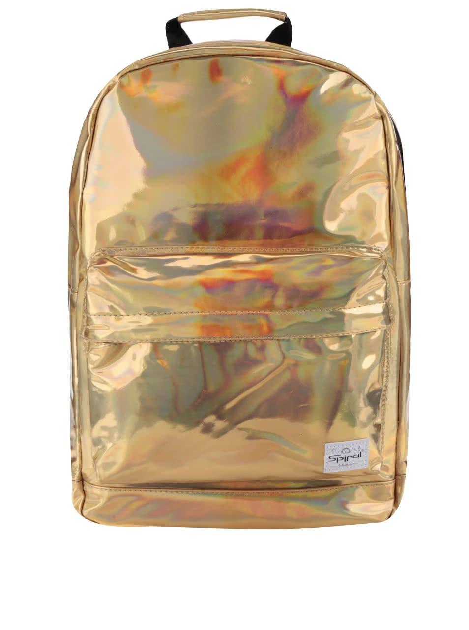Holografický dámský batoh ve zlaté barvě Spiral Rave 18 l
