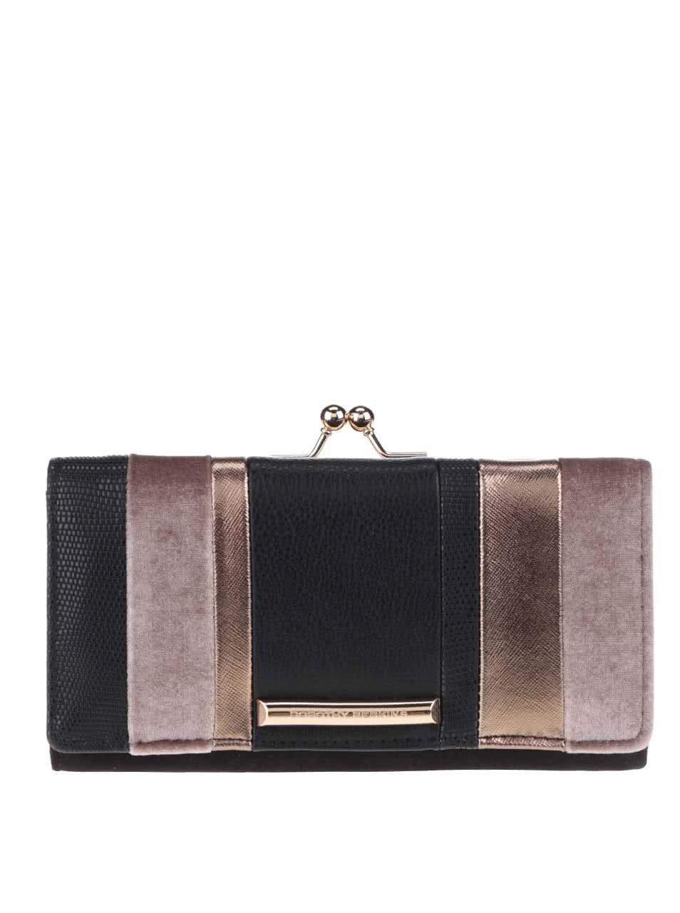 Černá peněženka s detailem ve zlaté barvě Dorothy Perkins