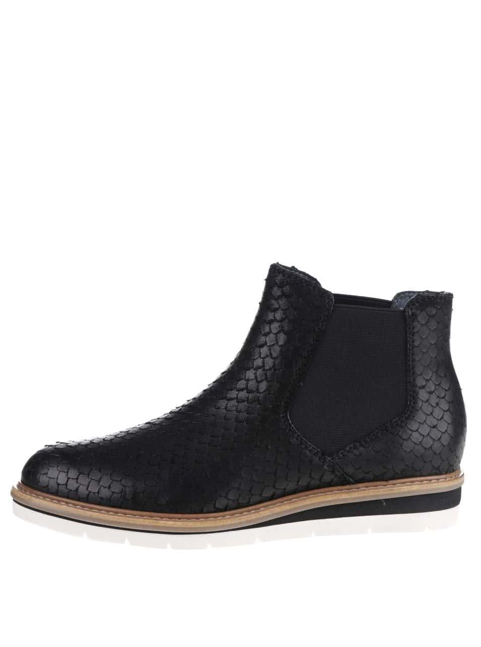 Černé kožené vzorované chelsea boty Tamaris