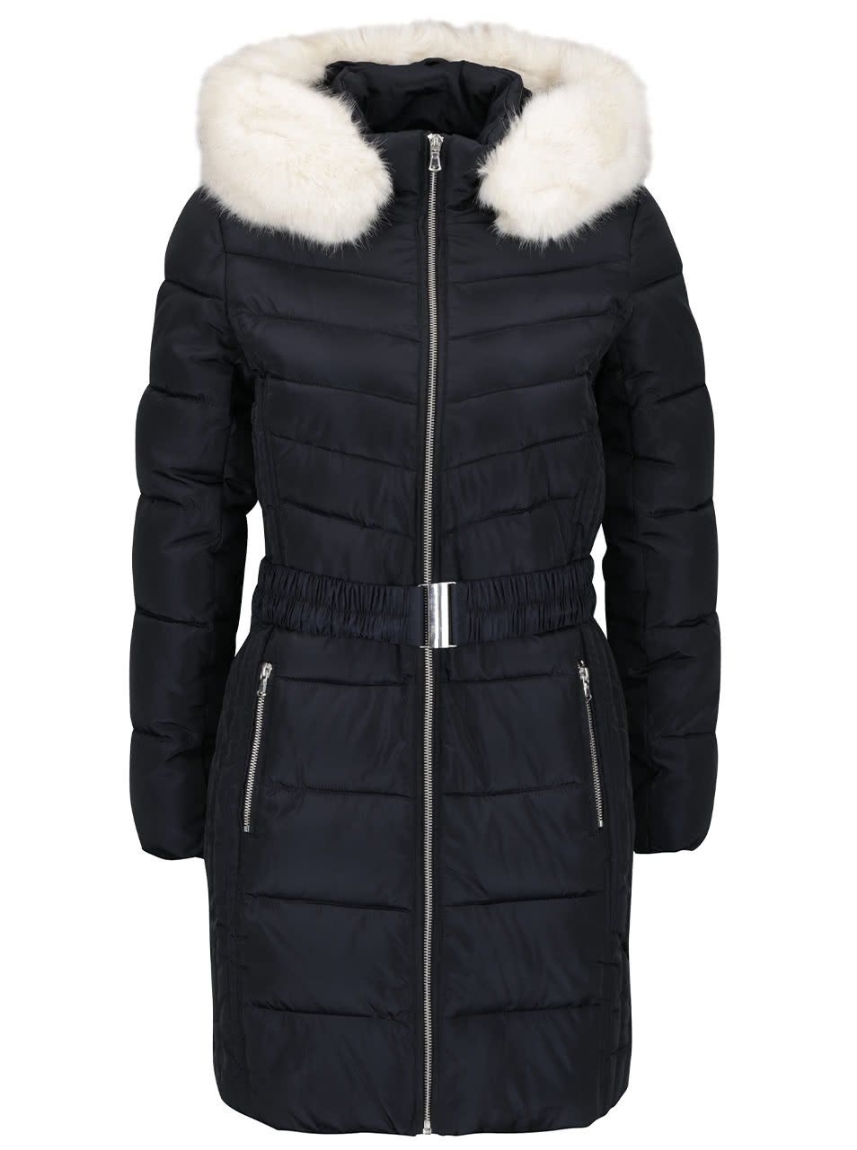 Tmavě modrý prošívaný kabát s umělým kožíškem Dorothy Perkins