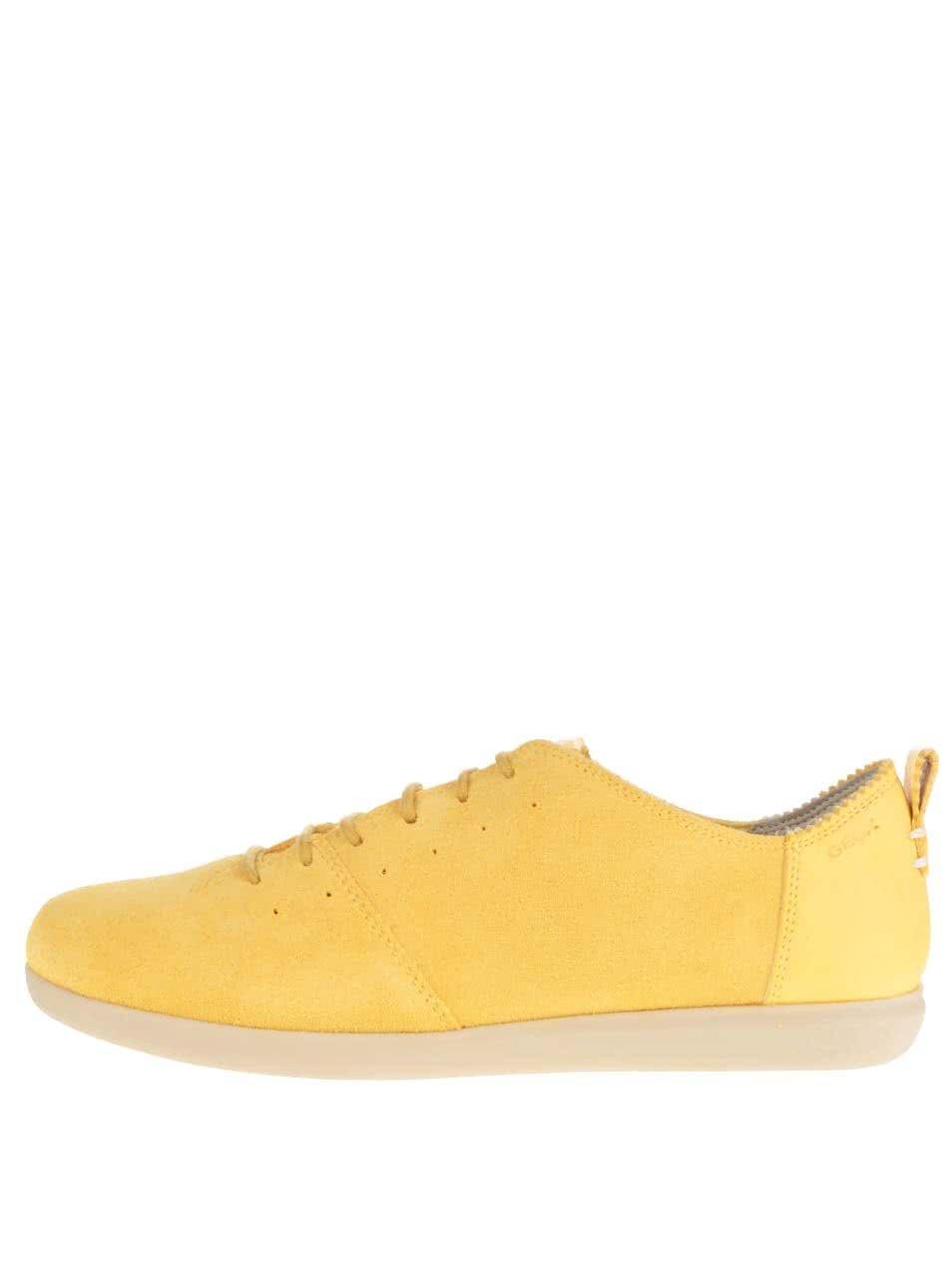 Žluté dámské nízké semišové tenisky Geox New Do C