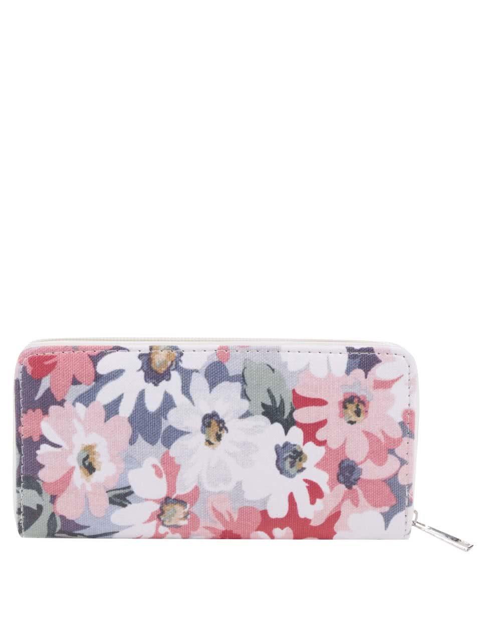 Bílo-růžová květovaná peněženka Haily´s