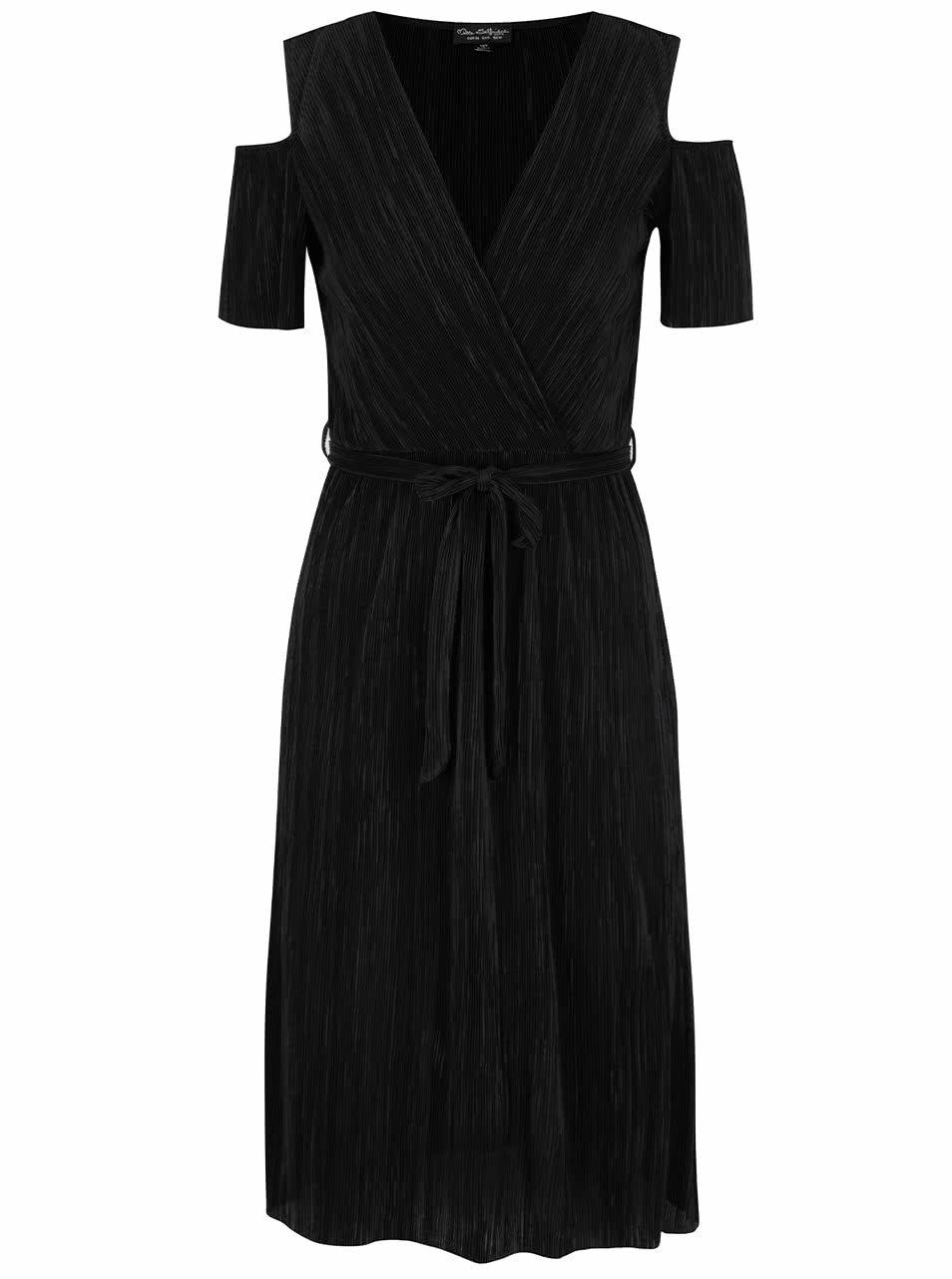 Černé plisované šaty s průstřihy na ramenou Miss Selfridge