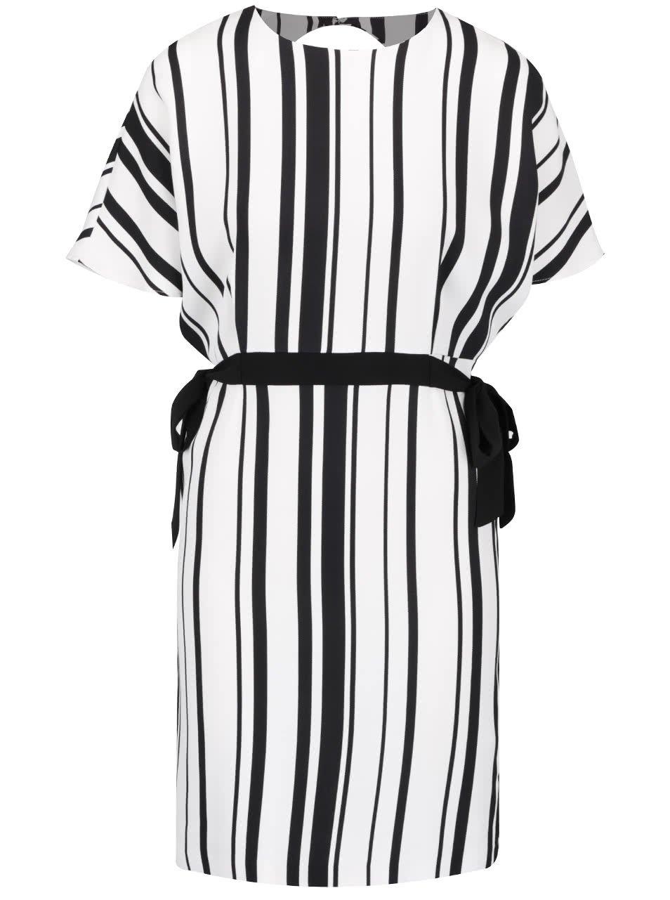Černo-krémové pruhované šaty s vázáním Miss Selfridge