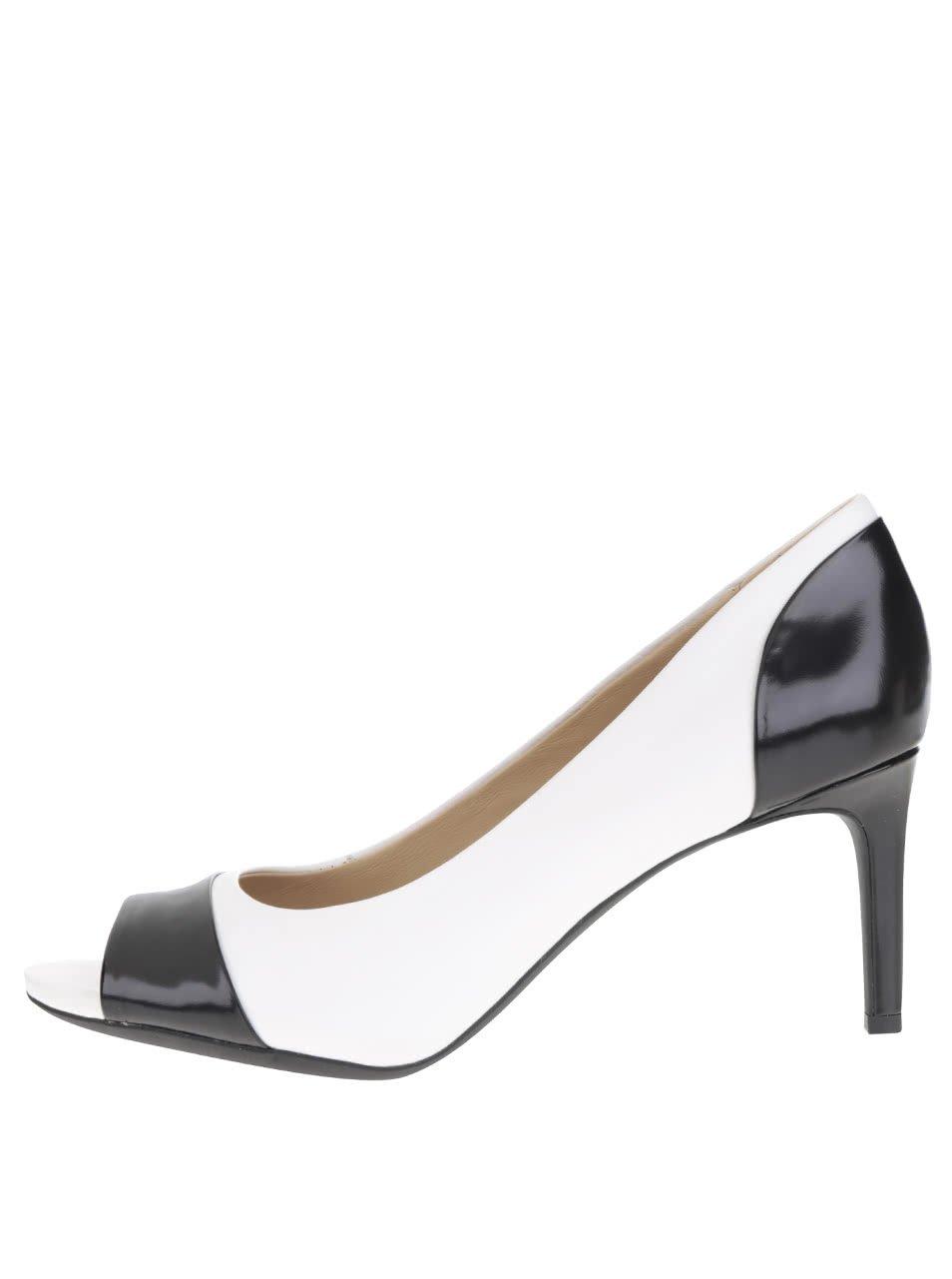 Černo-bílé dámské kožené boty na podpatku Geox Audie