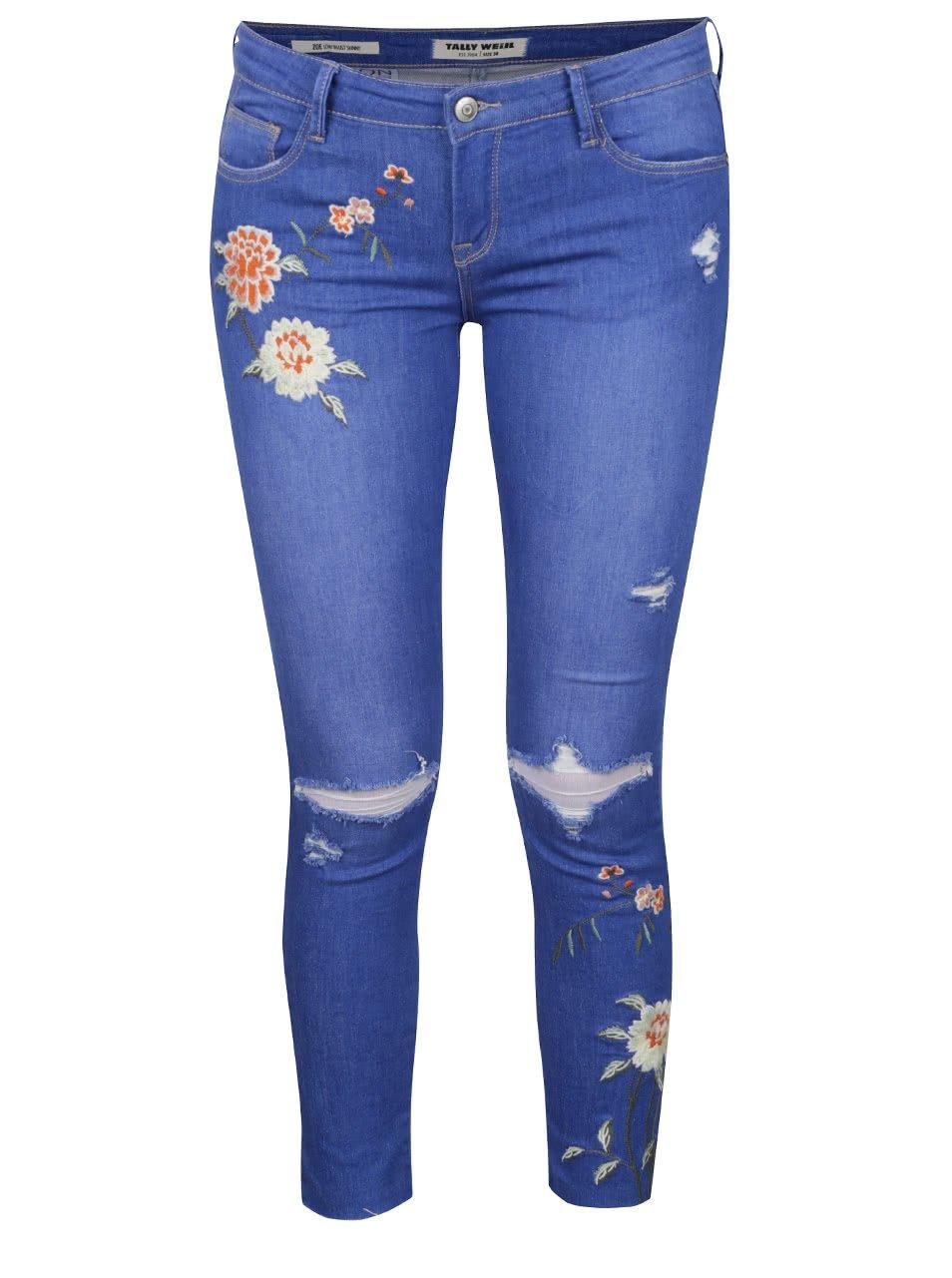 Světle modré skinny džíny s dírami na kolenou a nášivkami TALLY WEiJL b7db09c064