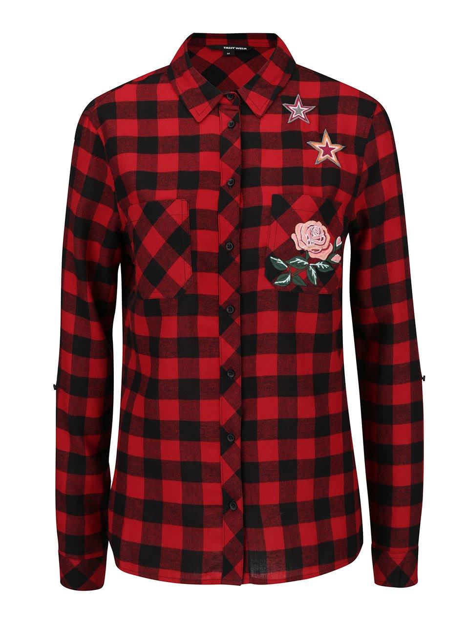 Černo-červená kostkovaná košile s nášivkou TALLY WEiJL