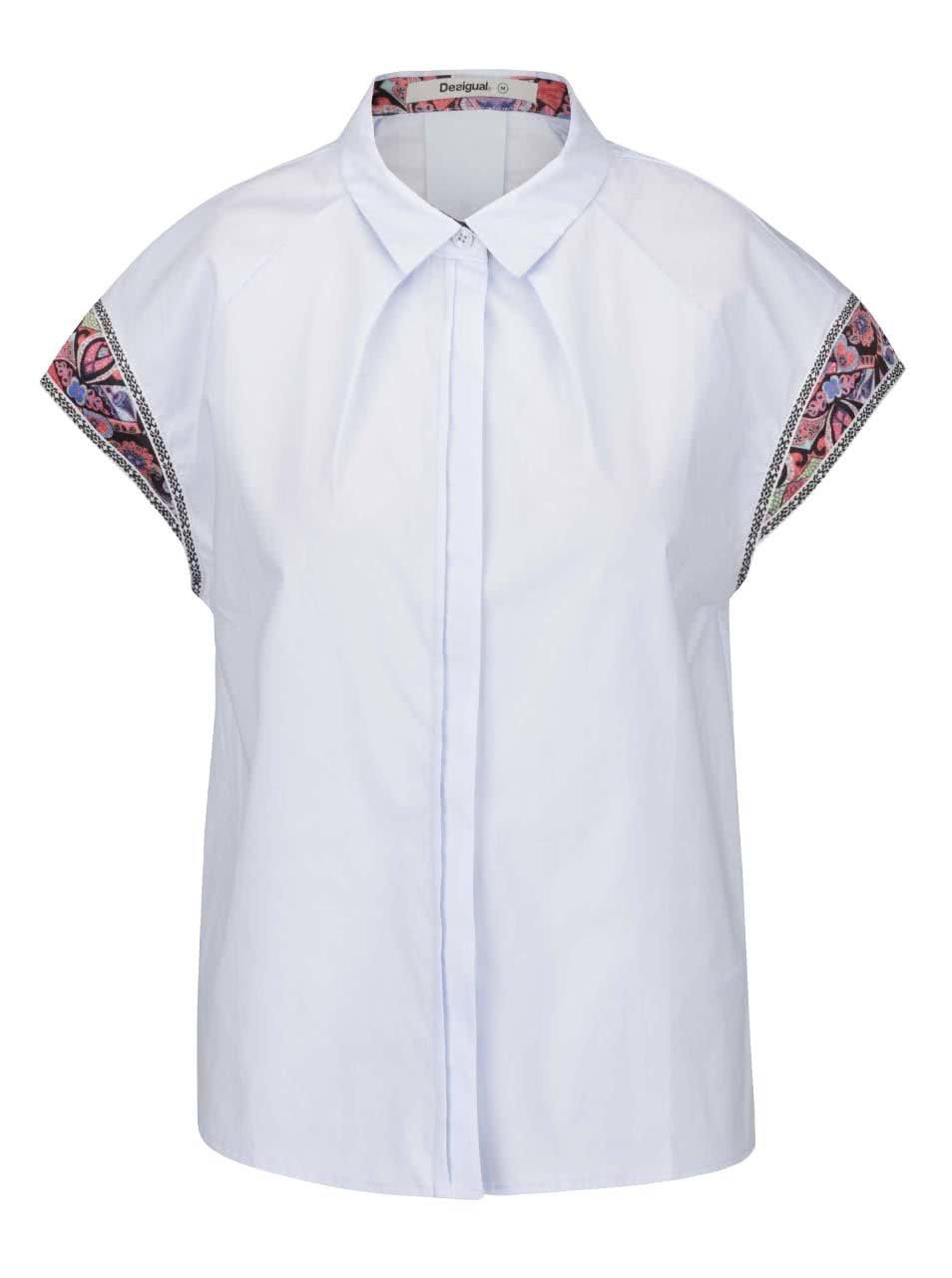 Světle modrá košile s krátkými vzorovanými rukávy Desigual Marian