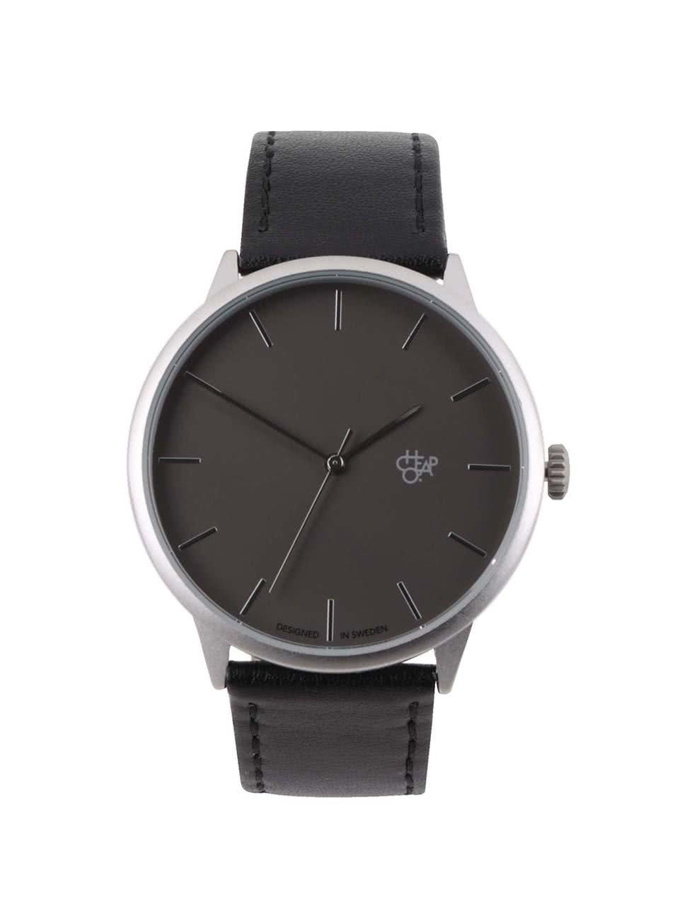 Unisex hodinky ve stříbrné barvě s černým páskem z veganské kůže Cheapo