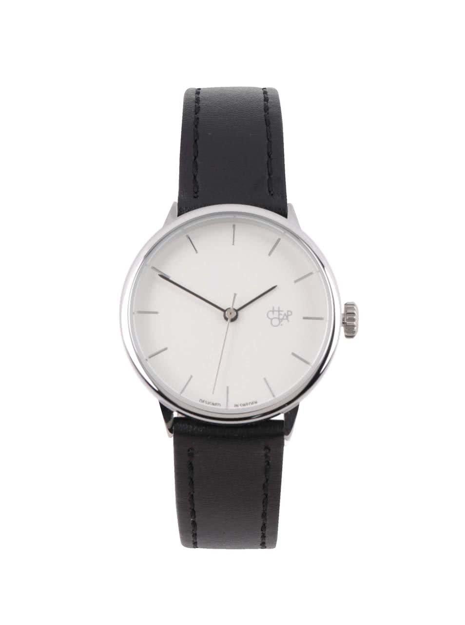 Dámské hodinky ve stříbrné barvě s černým páskem z veganské kůže Cheapo