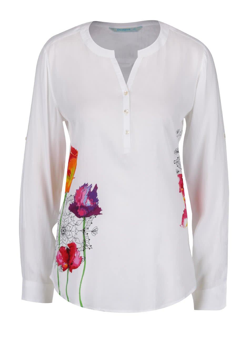 Bílá halenka s barevnými květy Desigual Olga