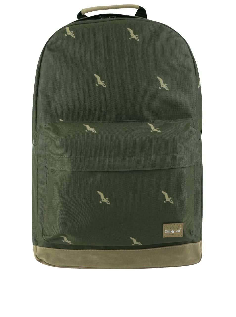 Khaki unisex batoh s motivem ptáků Spiral Bird 18 l