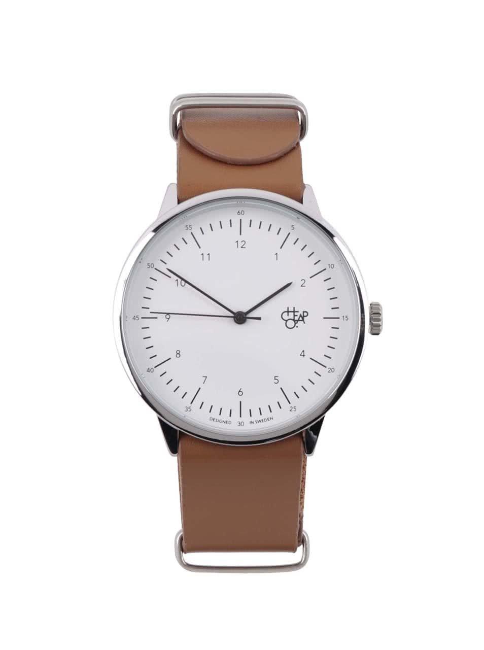 Unisex hodinky ve stříbrné barvě s hnědým koženým páskem Cheapo