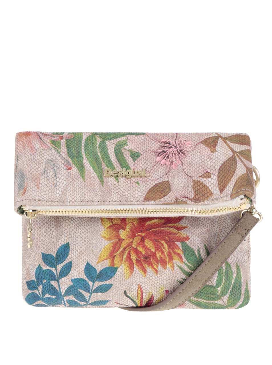 Béžová crossbody kabelka s barevnými květy Desigual Atenas Mogli