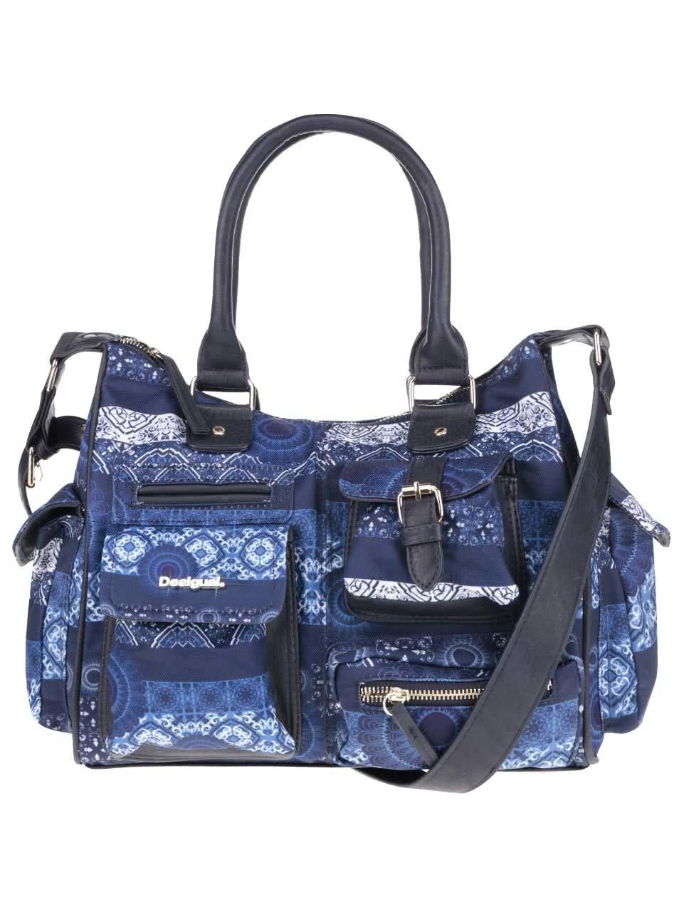 Modrá vzorovaná kabelka Desigual London Barbados