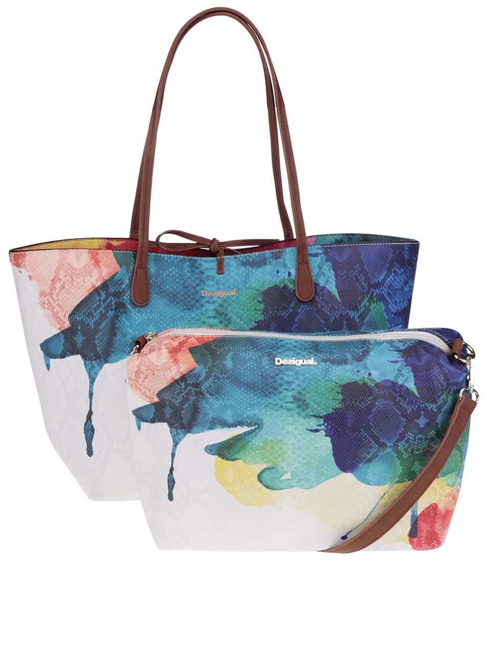 Modro-krémový shopper s crossbody kabelkou Desigual Capri Aquarelle