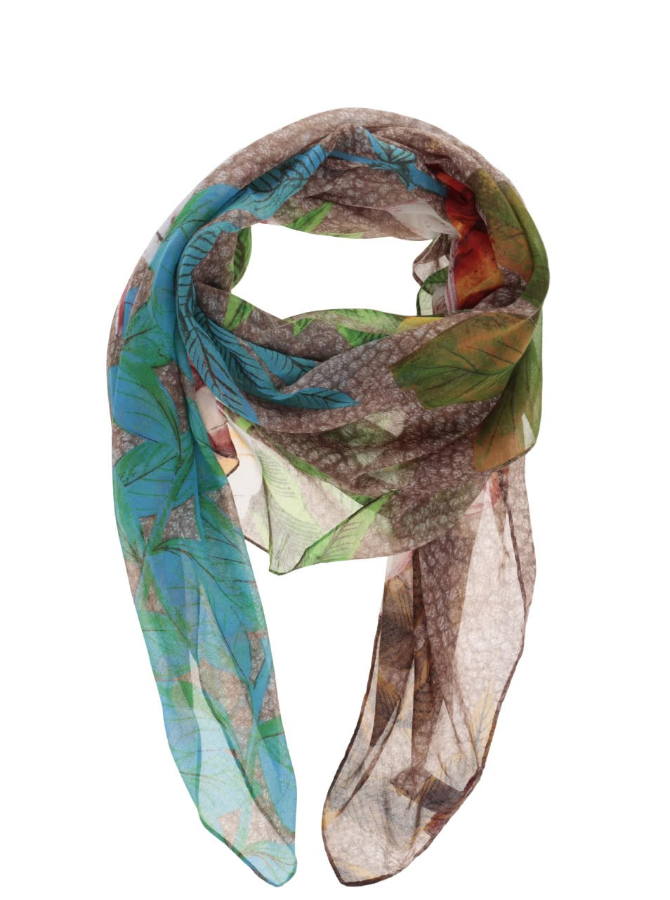 Hnědý šátek s barevnými květy a listy Desigual Rectangle Mogli