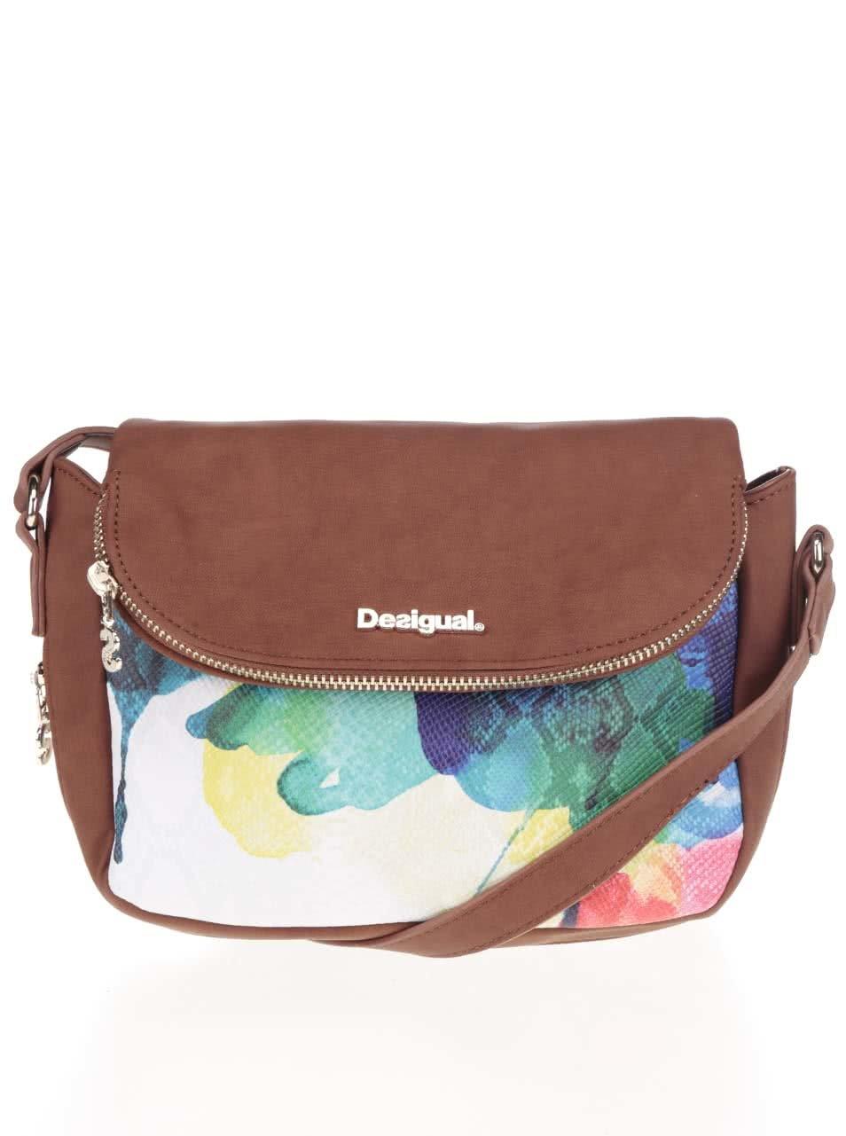 Krémovo-hnědá crossbody kabelka s klopou Desigual Capri Aquarelle