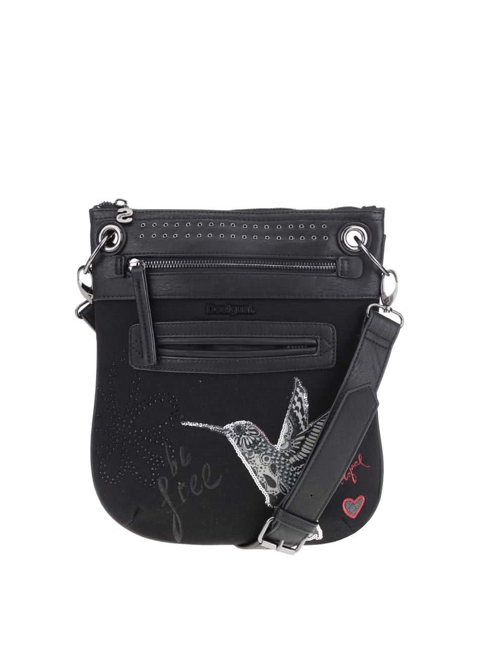 Černá crossbody kabelka s potiskem Desigual Bandolera Black Bird