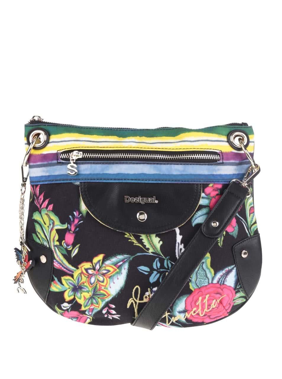 Černá crossbody kabelka s barevnými květy a přívěšky Desigual Brooklyn Cancun
