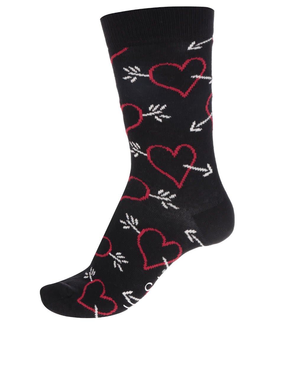 Černé dámské ponožky se srdíčky Happy Socks Arrow & Heart
