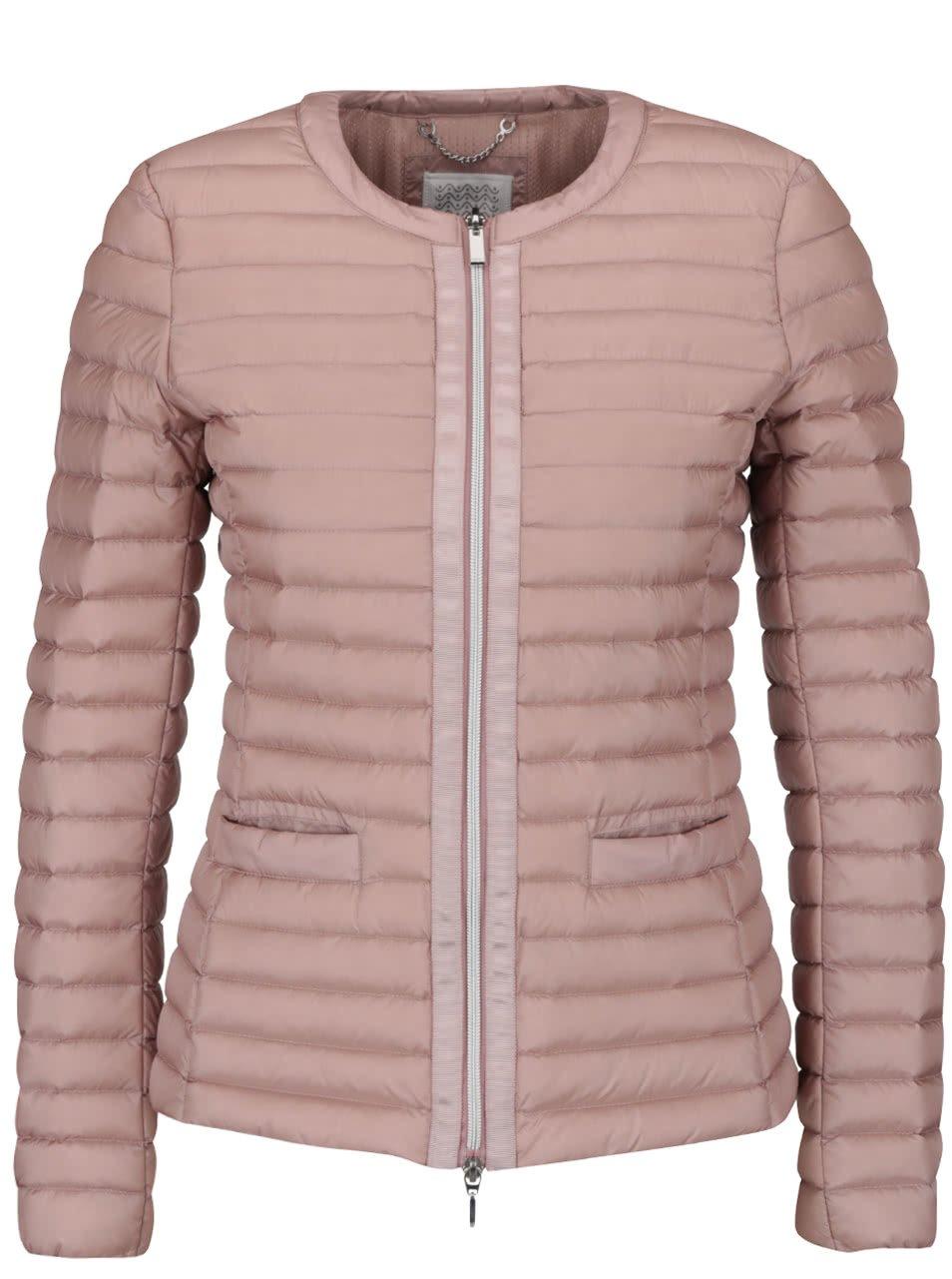 Světle růžová dámská péřová prošívaná bunda Geox
