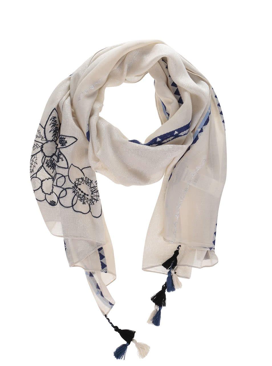 Krémový šátek s výšivkami Desigual Rectangle Slim