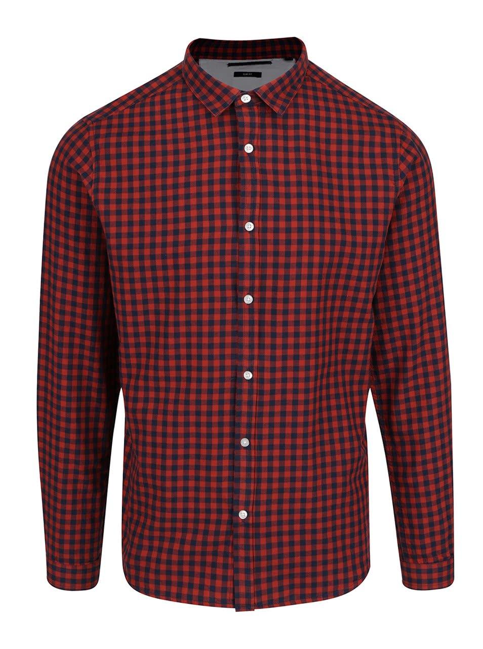 Modro-červená kostkovaná slim fit košile ONLY & SONS Ragner