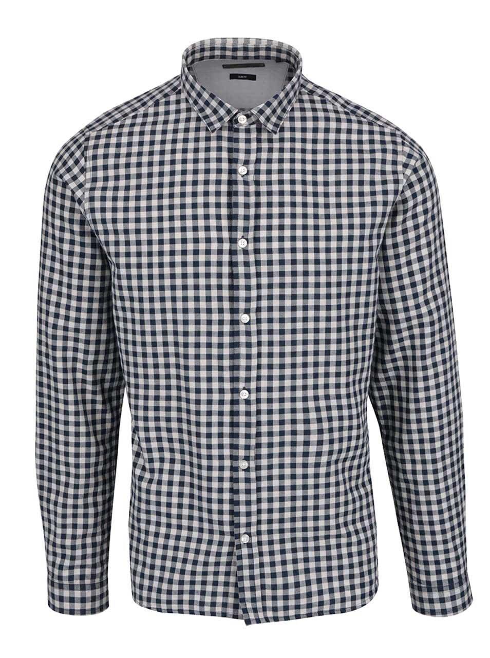 Modro-krémová kostkovaná slim fit košile ONLY & SONS Ragner