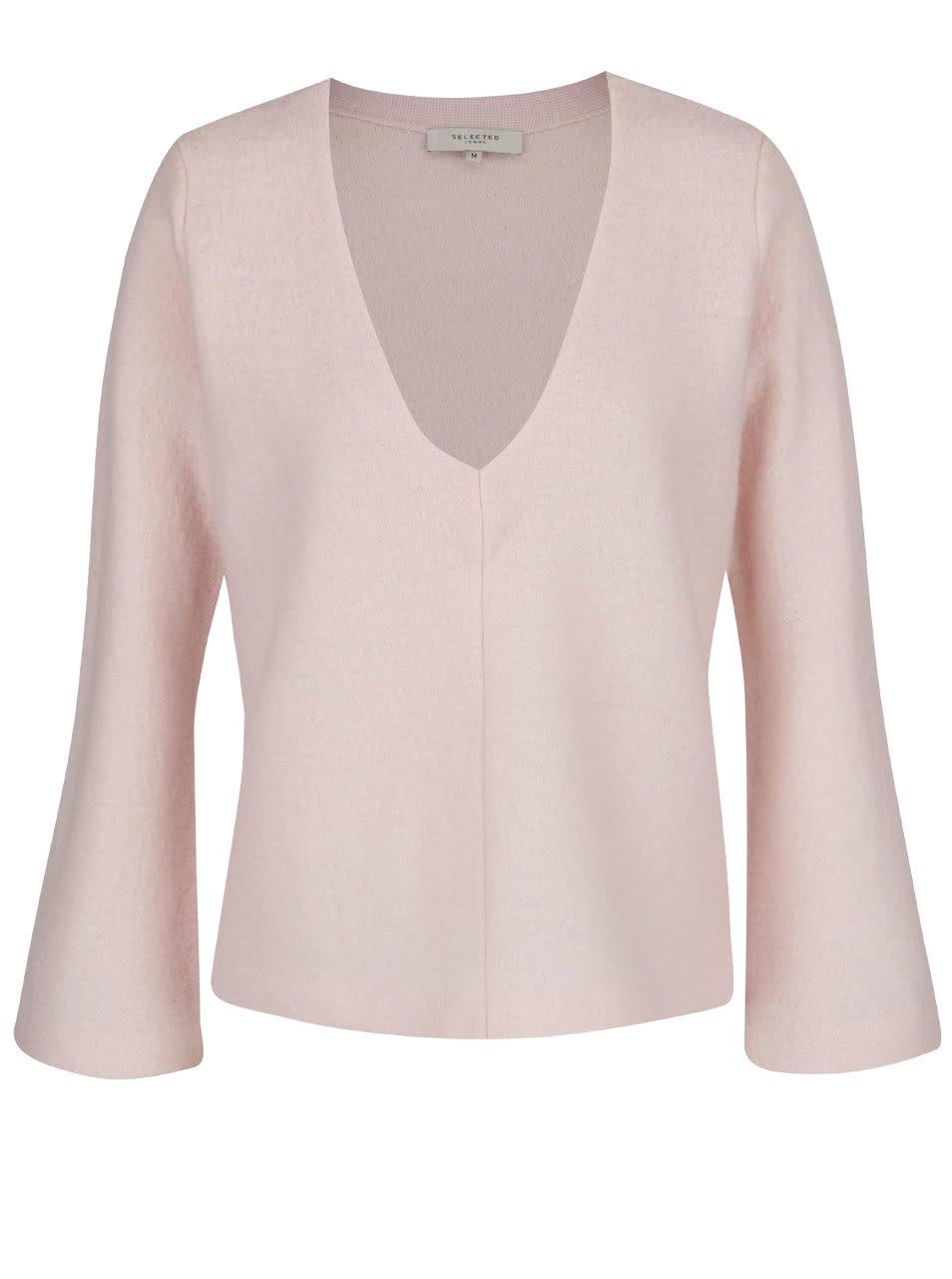 Světle růžový svetr z Merino vlny Selected Femme Darla
