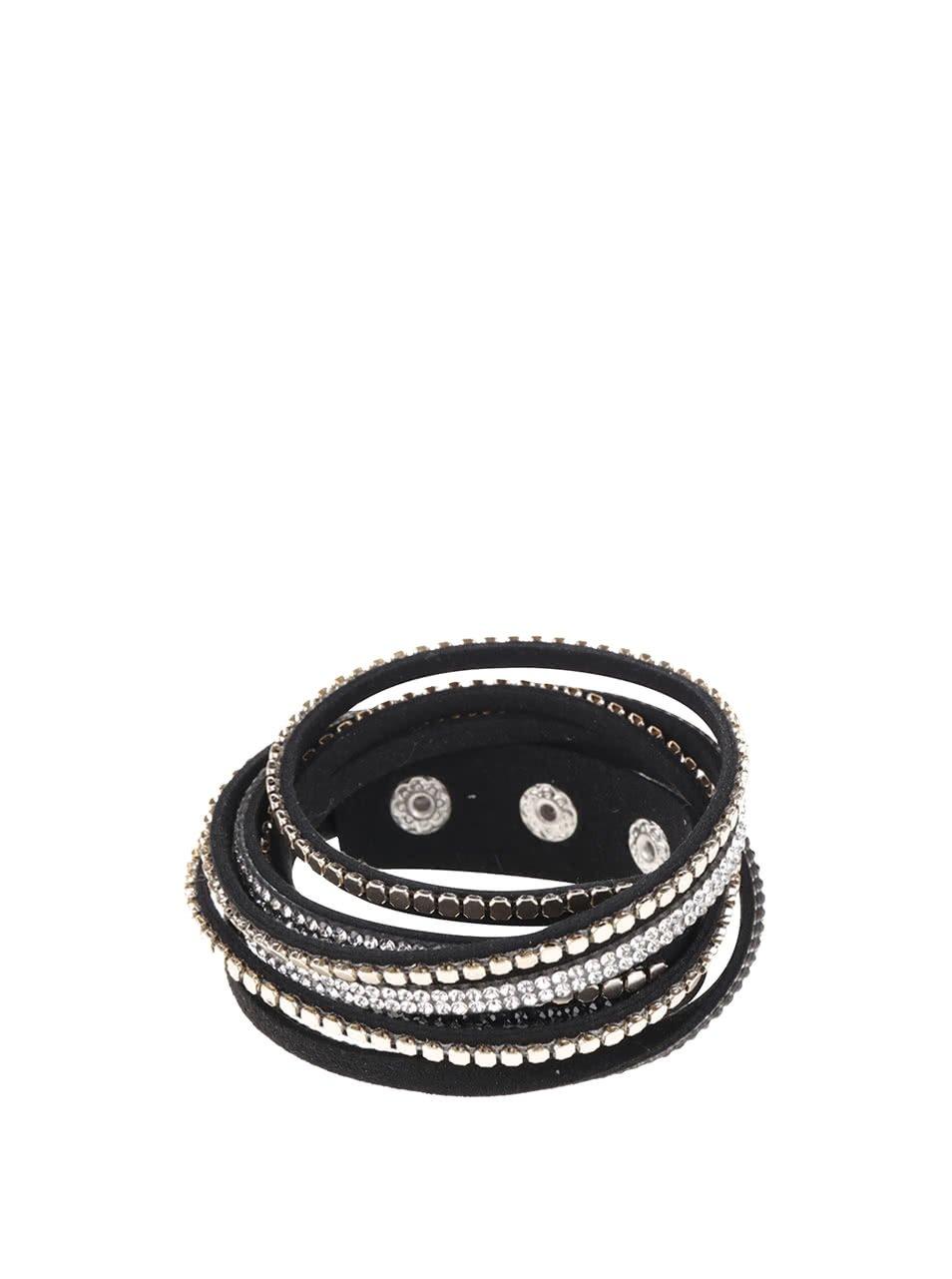 Černý dvojitý náramek s kamínky Haily´s Laila