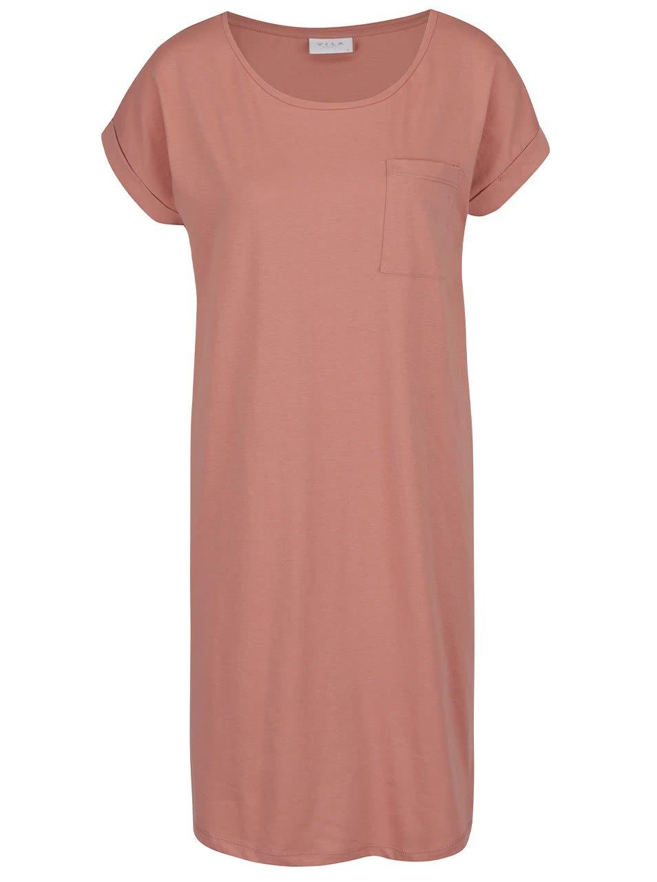 Starorůžové volné šaty s kapsou VILA Dreamers