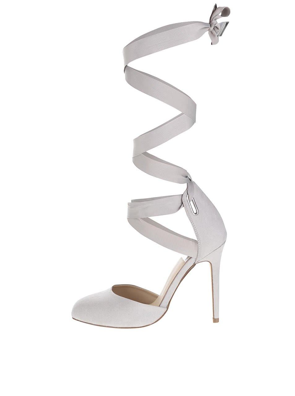 Světle šedé boty v semišové úpravě na jehlovém podpatku Miss Selfridge