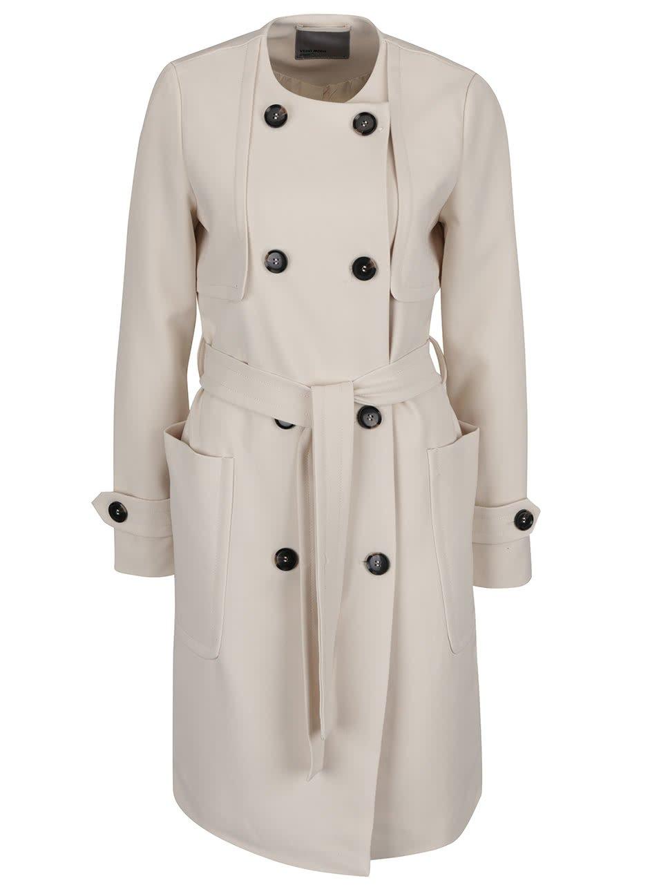 Béžový kabát s dvouřadým zapínáním a hlubokými kapsami VERO MODA Janna