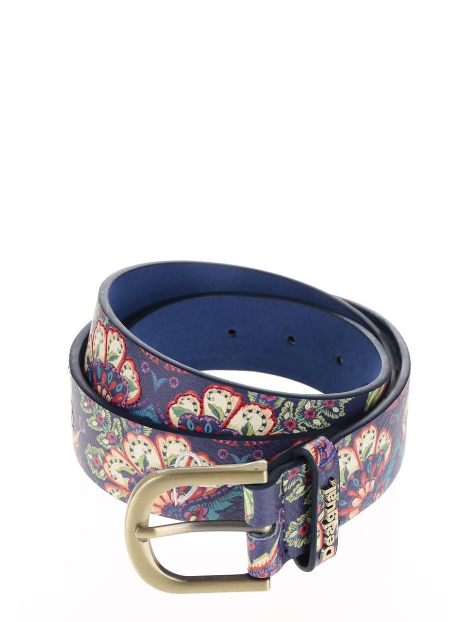 Tmavě modrý pásek s barevným vzorem Desigual Valkiri