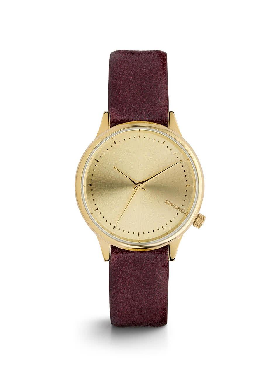 Dámské hodinky ve zlaté barvě s vínovým koženým páskem Komono Estelle Classic