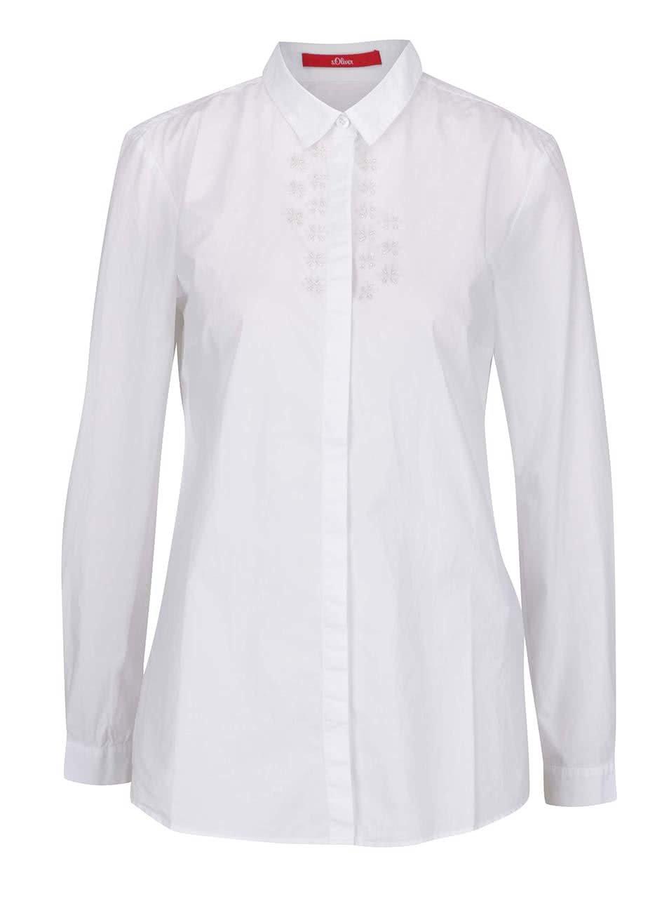 Bílá dámská košile s korálkovou aplikací s.Oliver