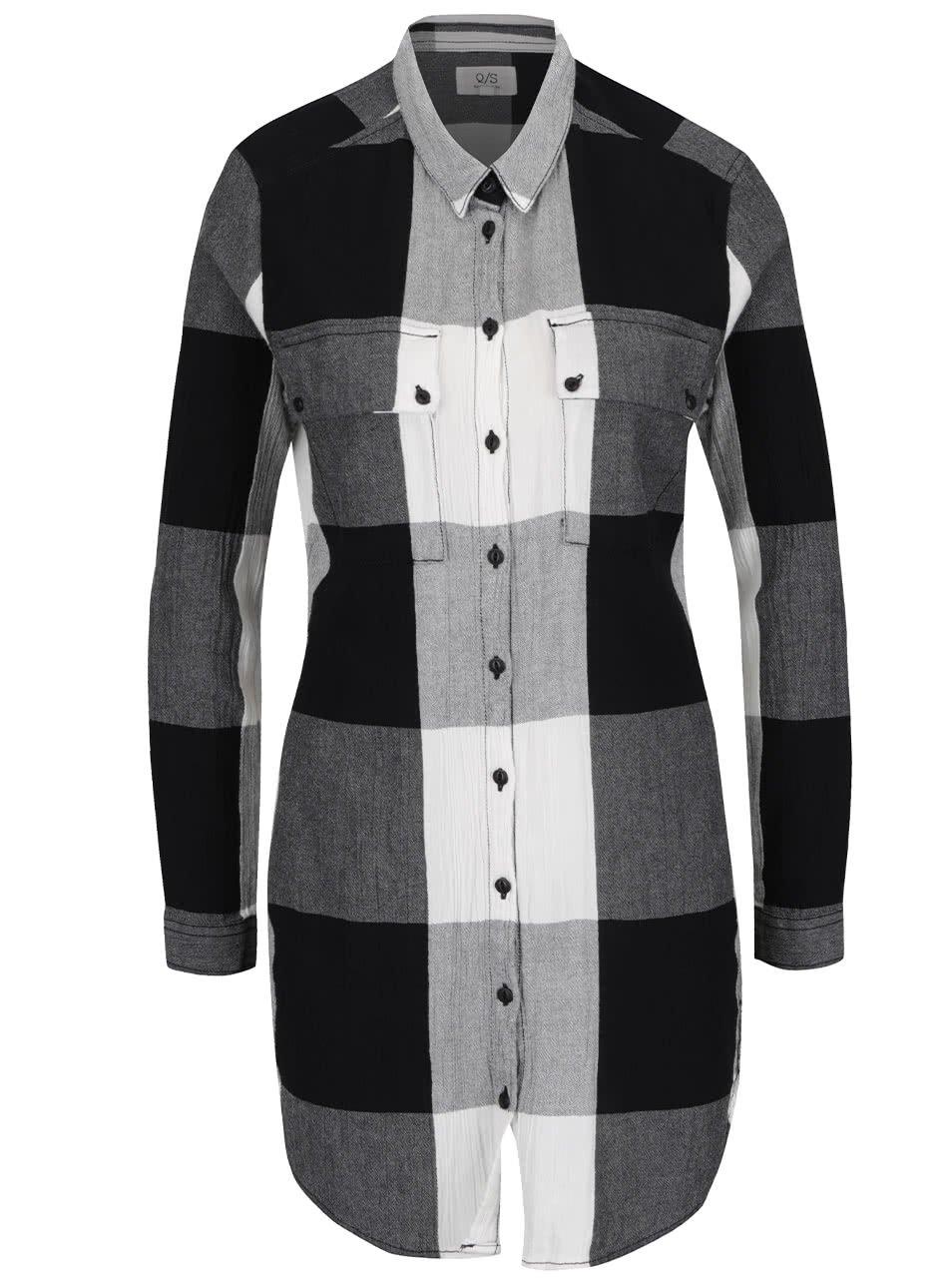 Krémovo-šedá dlouhá dámská kostkovaná košile s.Oliver