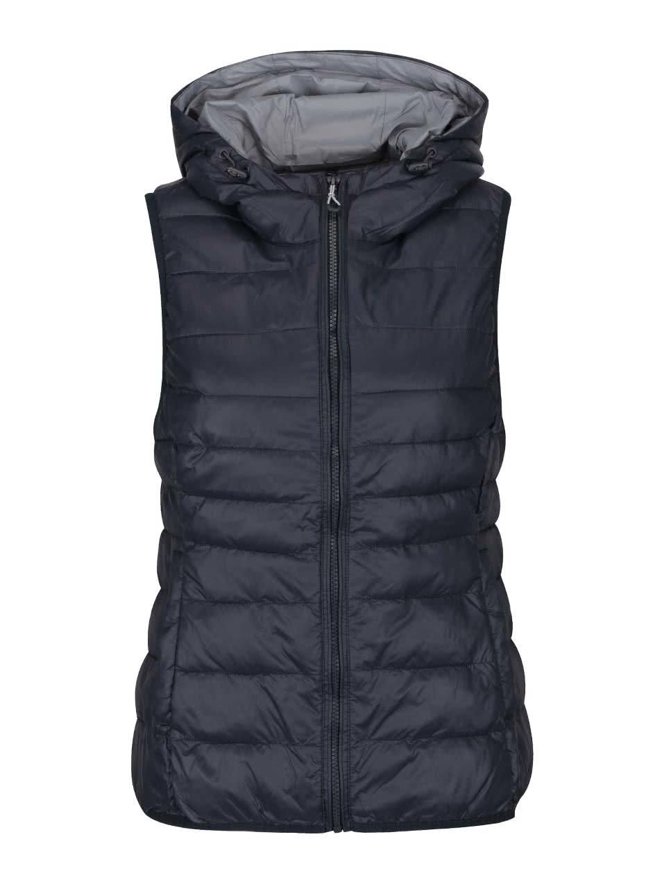 Tmavě modrá prošívaná vesta s kapucí ONLY Tahoe