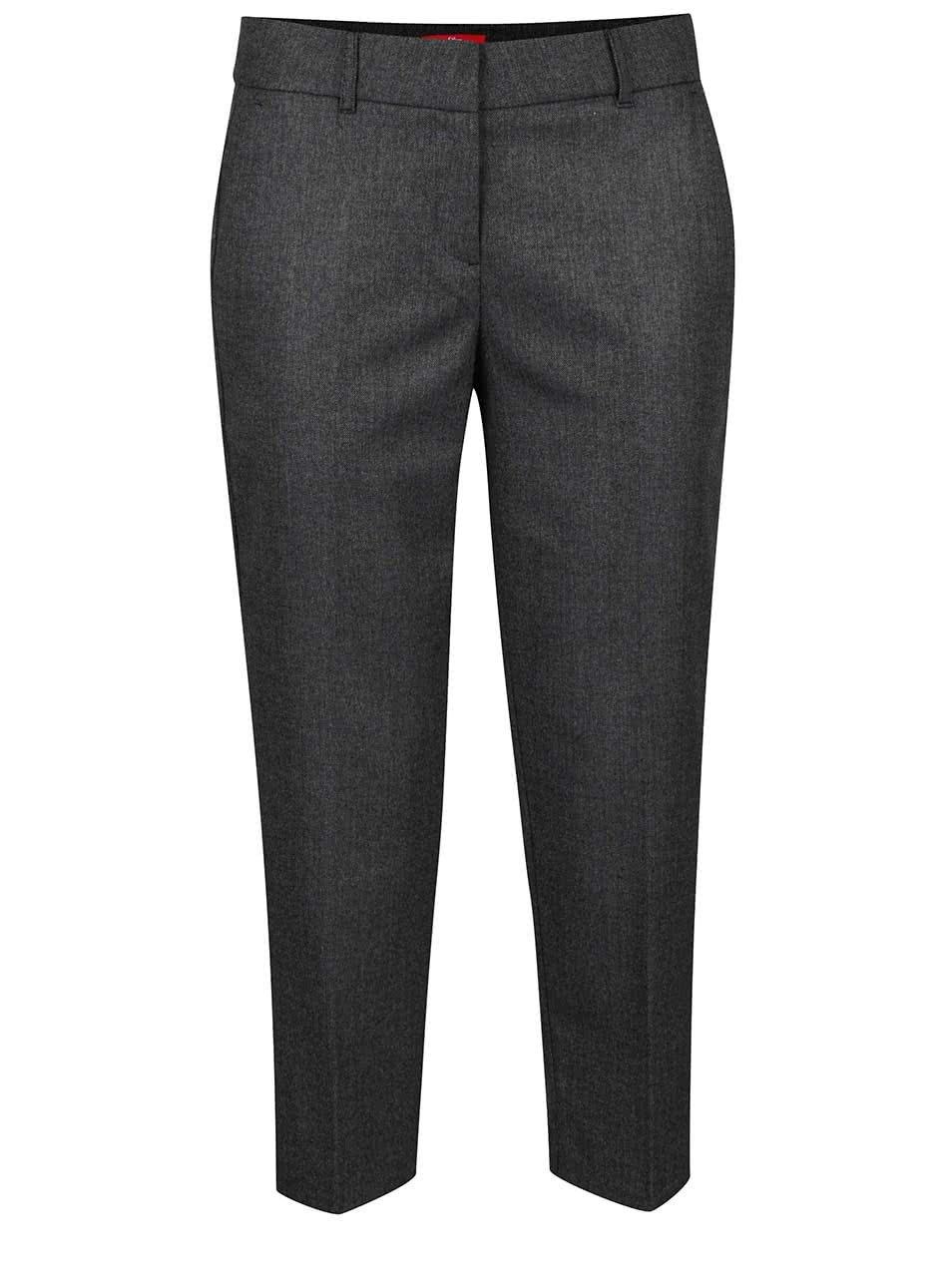 Tmavě šedé dámské žíhané osminkové formální kalhoty s.Oliver