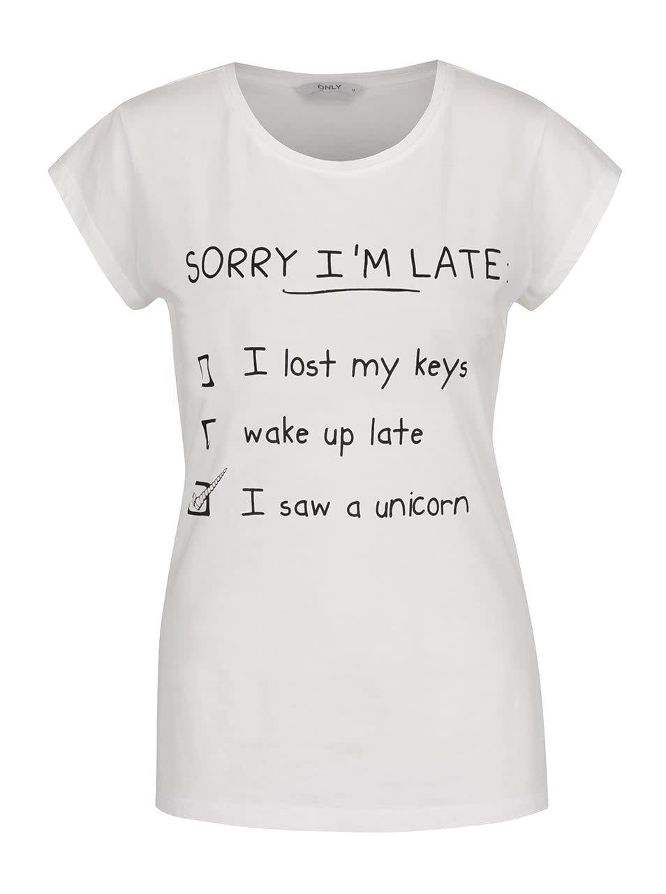Krémové tričko s potiskem ONLY Zarlo
