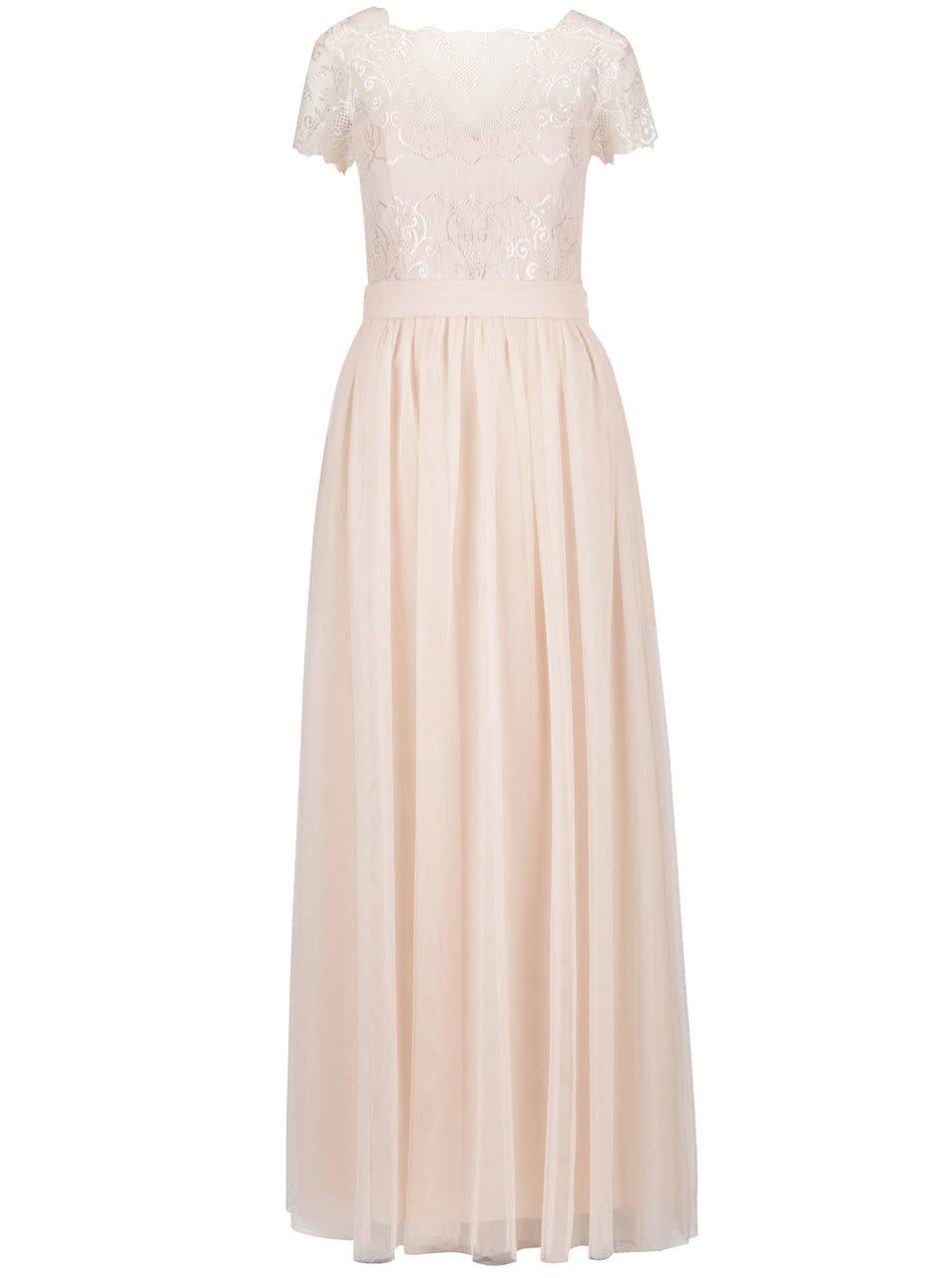 Meruňkové dlouhé šaty s krajkovým topem Little Mistress