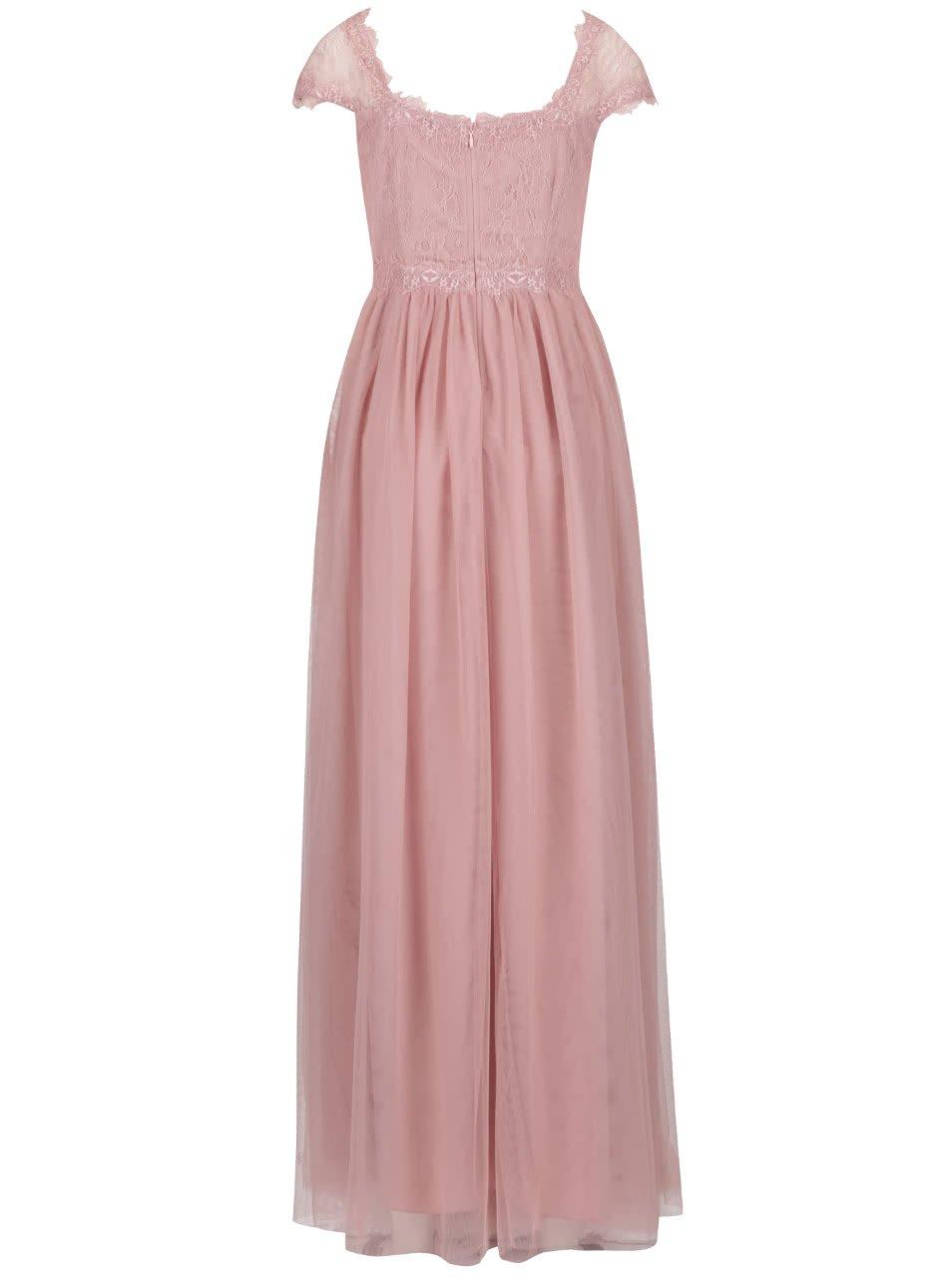 Starorůžové dlouhé šaty s krajkovým topem Little Mistress