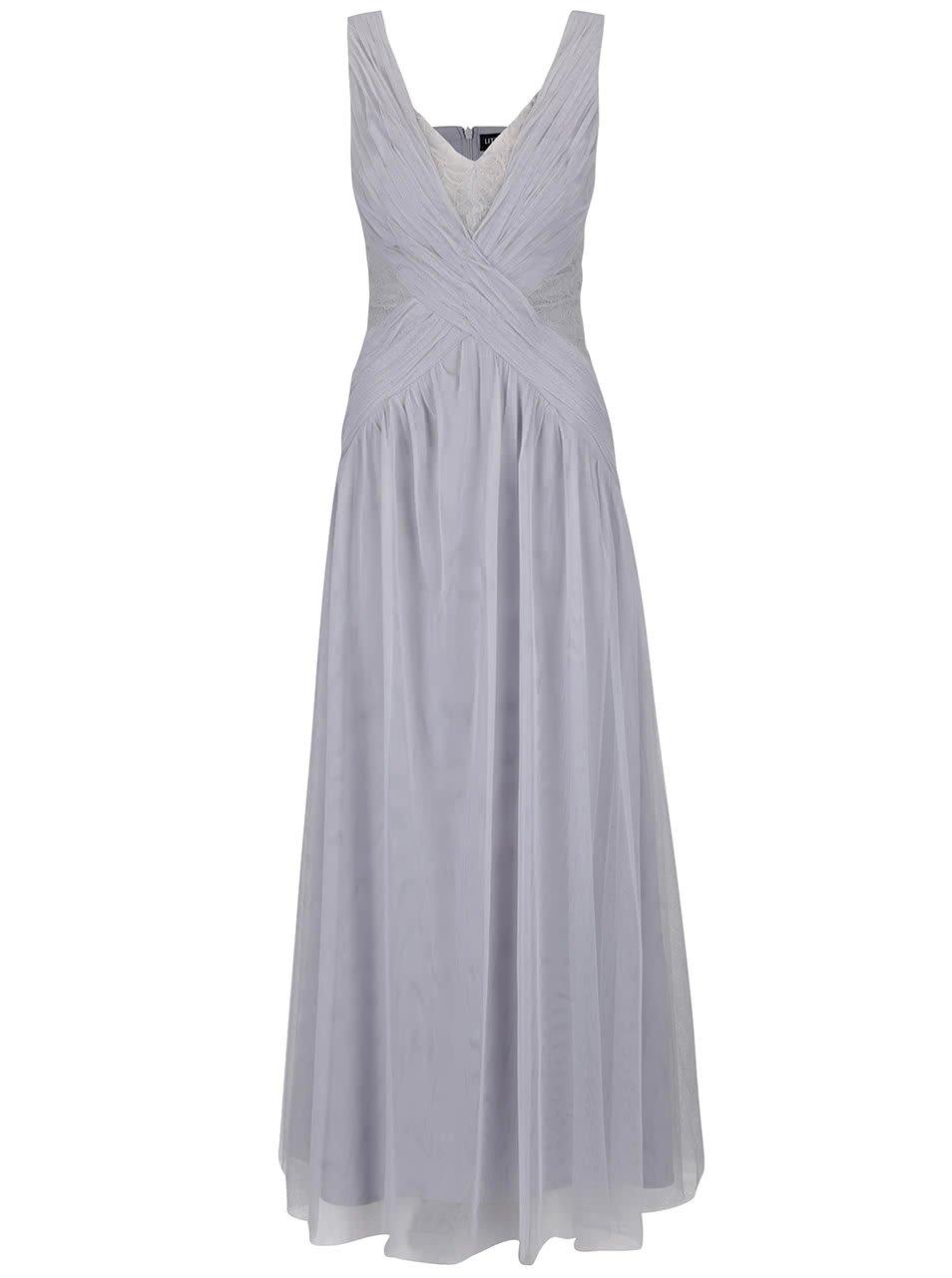 Šedé dlouhé šaty s překládaným dekoltem a krajkovými detaily Little Mistress
