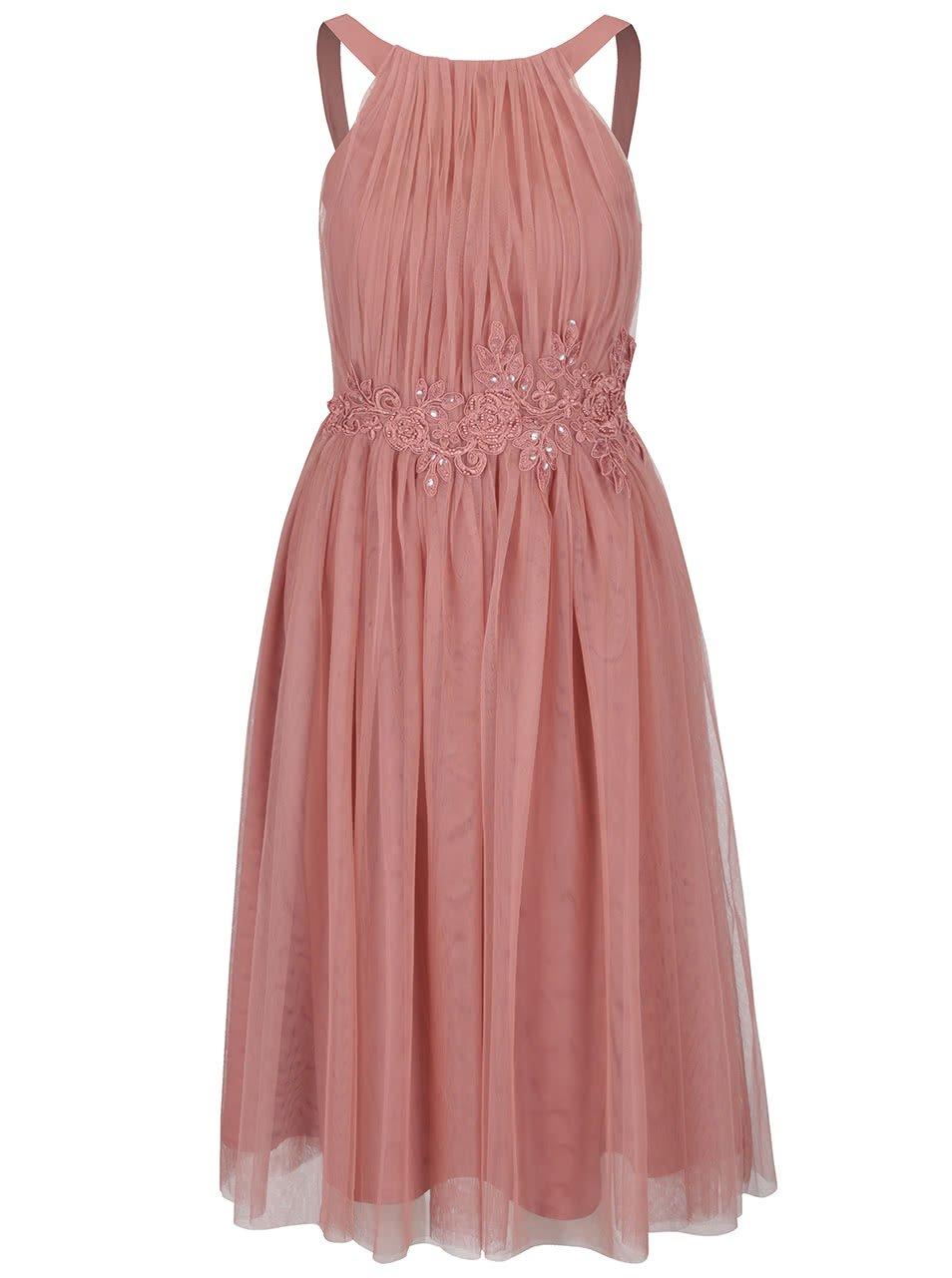 Starorůžové tylové midi šaty s květovanou aplikací Little Mistress